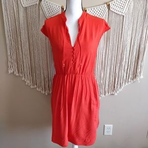 Anthropologie Maeve Orange Cinch Waist Dress S